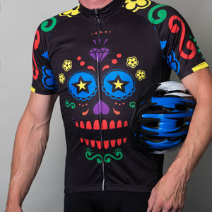 Mens Multi Coloured Sugar Skull Cycle Jersey