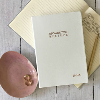 Believe, Positive Thinking Journal In White Leather