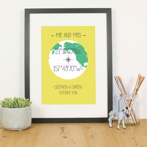 Personalised Wedding 'Co Ordinates' Art Print - maps & locations