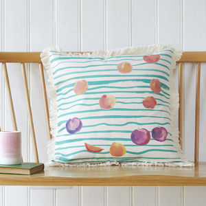 Fruit Stripe, Natural Fringed Cushion Cover