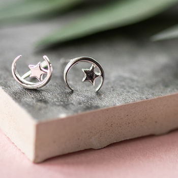 Sterling Silver Sit Upon The Moon Earrings