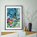 Blue Green Art Print From Original Abstract Painting