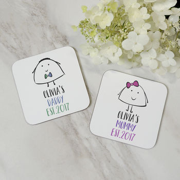 Set Of Personalised Mummy And Daddy Wooden Coasters