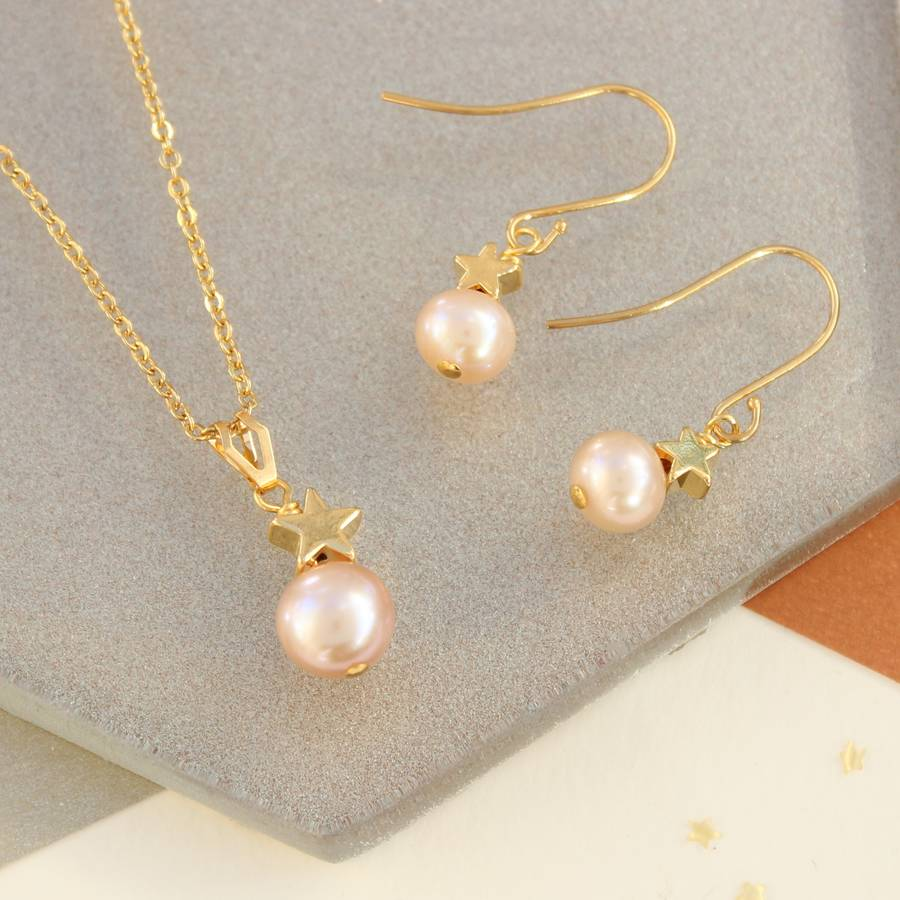 pink pearl necklace pin gold cultured natural pendant freshwater accents with teardrop