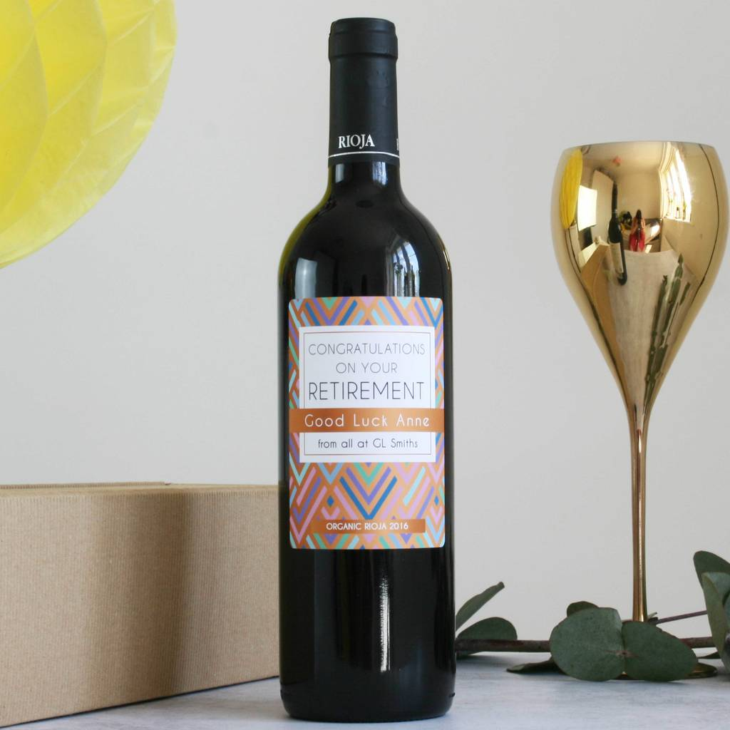 personalised retirement gift wine by bottle bazaar