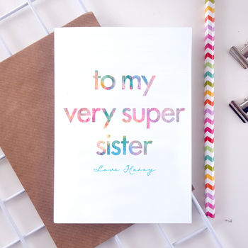 Very Super Sister | Personalised Birthday Card