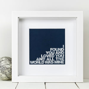 Framed 'I Found You' Love Print - posters & prints