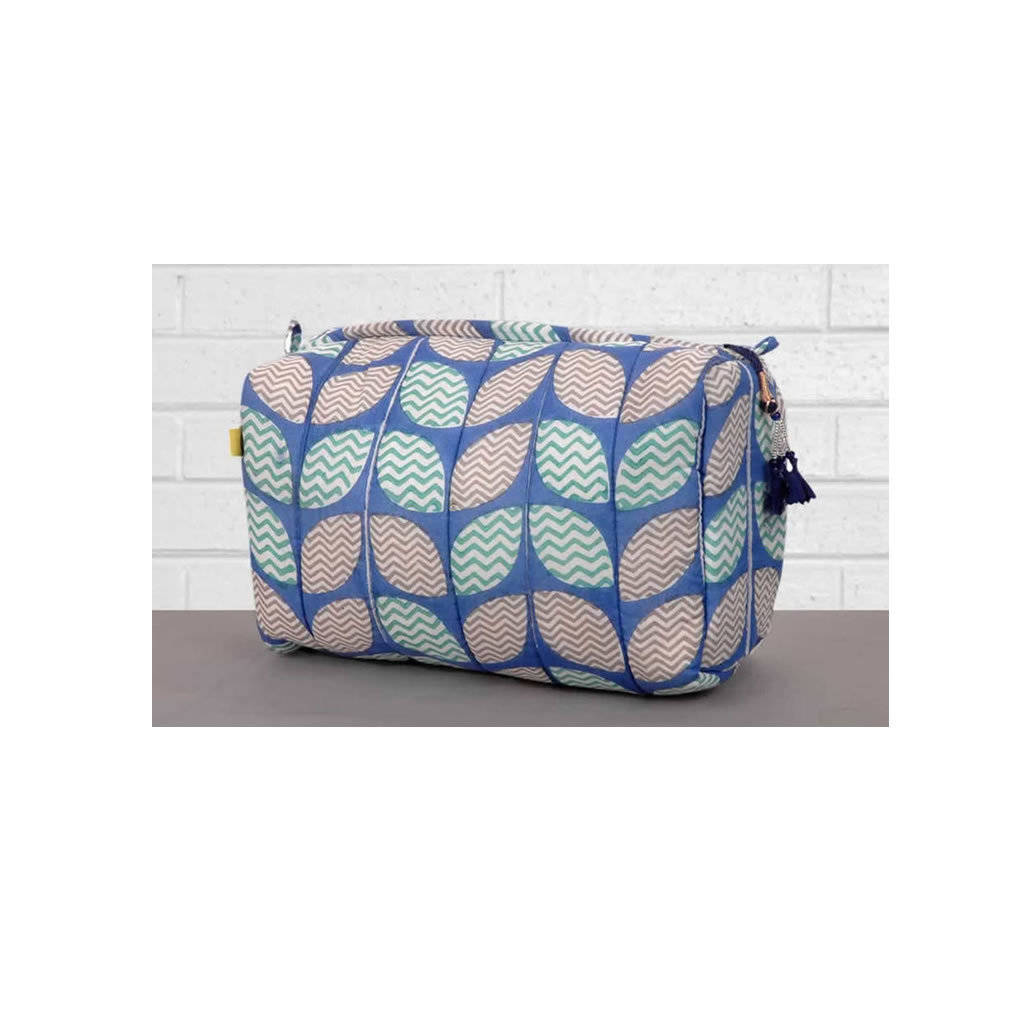 Loha Chevron Leaf Print Wash Bag Quilted Cotton