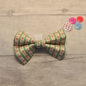 Green Floral Dog Bow For Girl Or Boy Dogs - new in pets