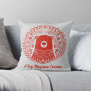 Personalised Red Bear Hygge Christmas Cushion