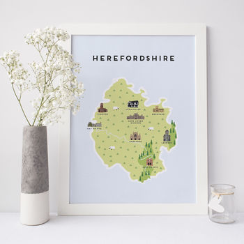 Map Of Herefordshire Print