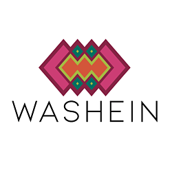 pink and green indigenous logo washein