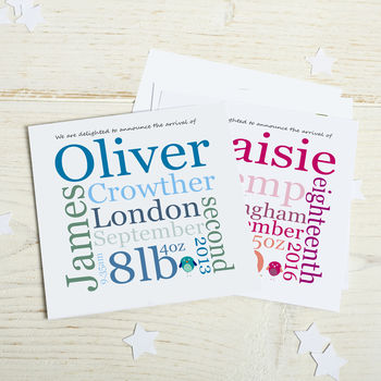 New Baby Birth Announcements: Typographic Style