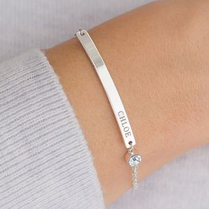 Personalised Birthstone And Bar Bracelet - march birthstone
