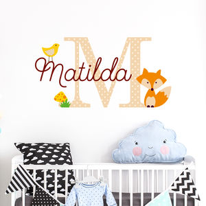 Personalised Name Initial Fox Wall Sitcker