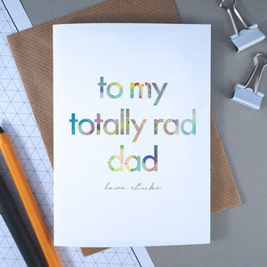 Totally Rad Dad | Personalised Birthday Card For Dad