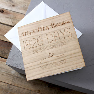Anniversary Wooden Time Card - anniversary cards