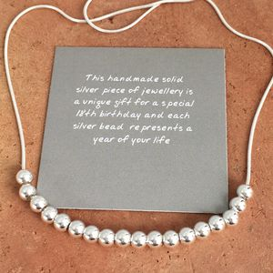 18th Birthday Silver Bead Necklace - necklaces & pendants