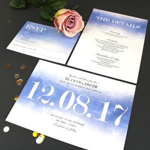 Modern Traditional Watercolour Wedding Invitation