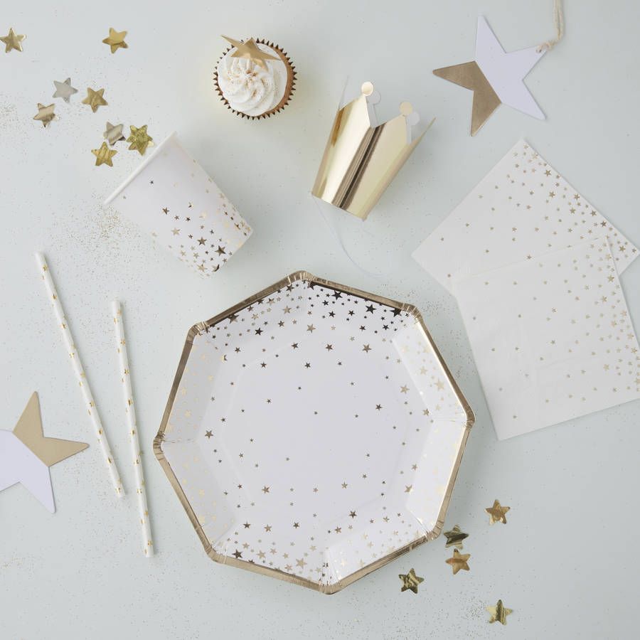 White Cardstock With Gold Stars
