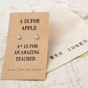 Amazing Teacher Apple Earrings - gifts for teachers