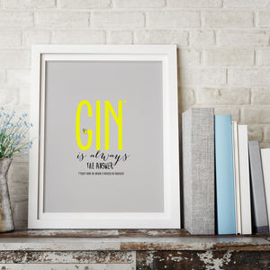Gin Lovers Typography Print - posters & prints