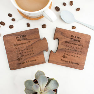 Personalised Wedding Gift Coaster Set - wedding favours