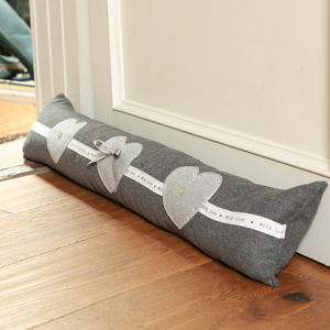 Amour Grey Heart Draught Excluder