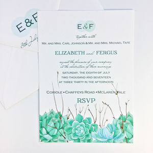 Succulent Modern Wedding Invitation