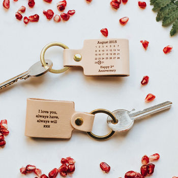Personalised Third Wedding Anniversary Leather Keyring By Create