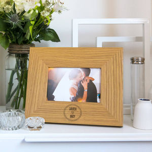 Personalised Wedding Engraved Oak Frame