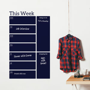 Write And Erase Weekly Planner Wall Decal Sticker - wall stickers