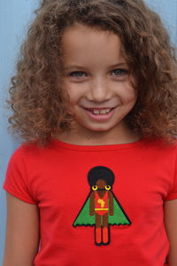 Afro Supa Superhero Short Sleeve T Shirt For Girls - t-shirts & tops