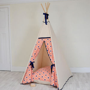 Geo Orange And Navy Teepee Tent - tents, dens & teepees