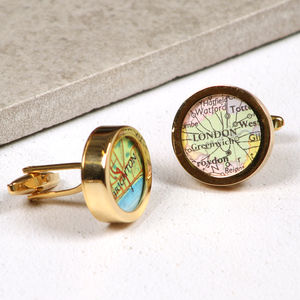 Personalised Map Golden Wedding Anniversary Cufflinks