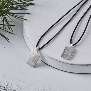 Men's Personalised Leather Initial Necklace - necklaces