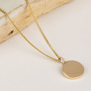 Delicate Solid Gold Disc Necklace
