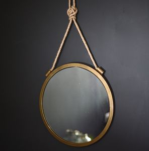 Round Burnished Mirror On A Rope - small space ideas