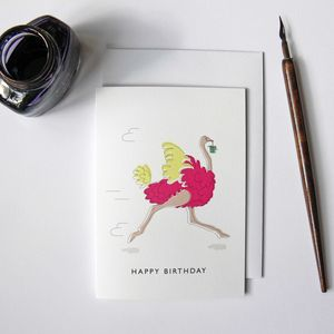 Pink Ostrich Happy Birthday Greeting Card