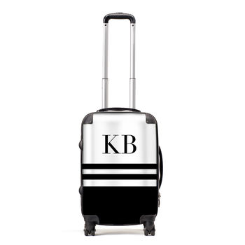 Personalised Monochrome Stripe Suitcase
