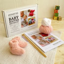 Baby booties beginner knitting kit in blossom pink