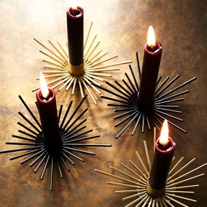 Black Or Gold Iron Spiked Candle Holder