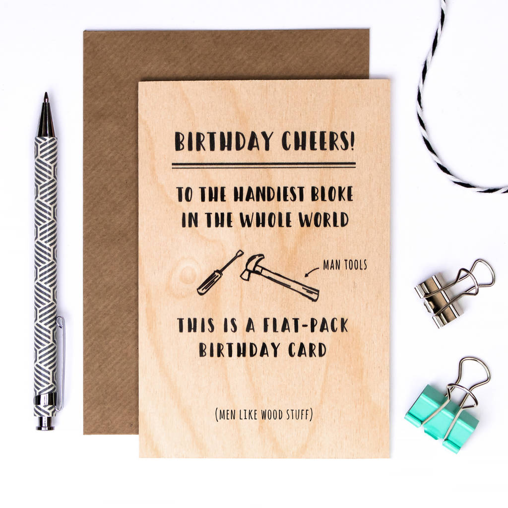 birthday card for men flat pack wooden card by coulson macleod