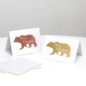 Pack Of 12 Gold Foil Polar Bear Christmas Cards - cards