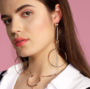 Statement Circle Earrings in Rose Gold