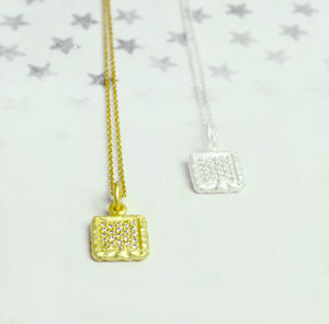 Sterling Silver Sparkling Square Necklace - necklaces & pendants