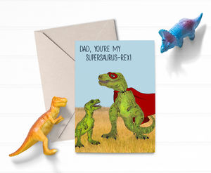 Cute T Rex Dinosaur Superhero Dad Fathers Day Card