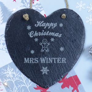 Christmas Teacher Personalised Slate Heart Decoration