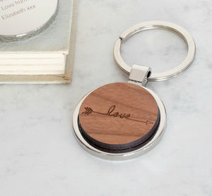 Personalised Wooden Love Arrow Keyring