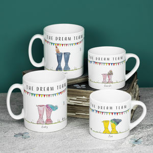 Personalised Set Of Welly Boot Family Mugs - mugs